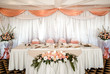 Wedding chair and table setting at restaurant