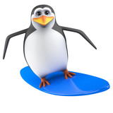 Cute penguin surfs the waves