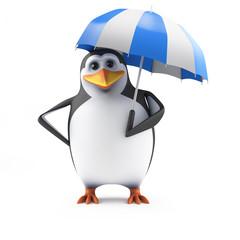 Cute penguin under an umbrella