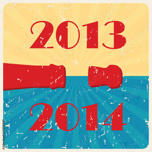 Vector retro happy new year card