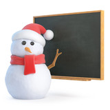 Santa Snowman at the blackboard