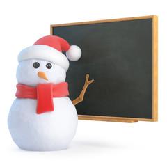 Santa Snowman at the blackboard
