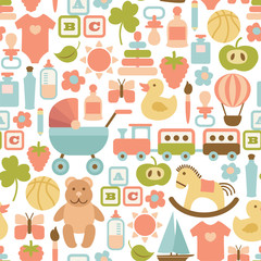 seamless pattern with colorful flat baby icons