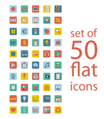 set of fifty flat icons