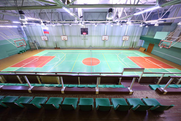 View from spectator seats at the indoor athletic field