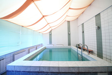 A small indoor pool with tiles on walls and floor