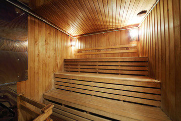 Healthy wooden steam sauna with with two lamps