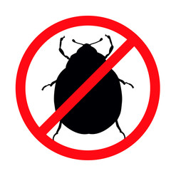 Beetle vector silhouette isolated. Insect repellent emblem
