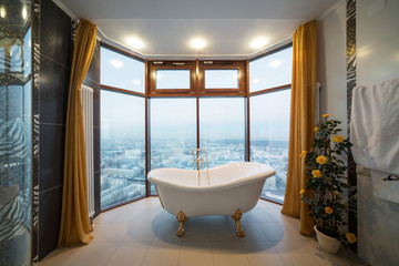 Beautiful bathtub in the bathroom