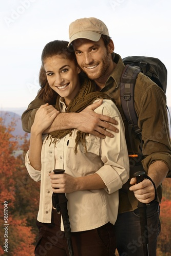 Couple outing in autumn countryside.