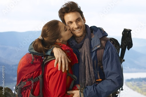 Happy hiking couple