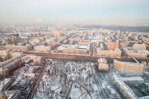 Large winter cityscape from height of one of district of Moscow