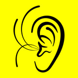 ear on a yellow background