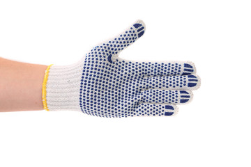 Hand in protective glove