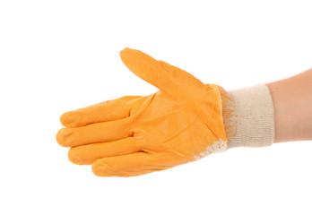 Hand in orange rubber glove