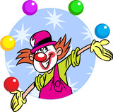 circus clown with balls poster