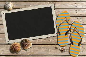 Photo Frame on Wooden Boardwalk with Sand