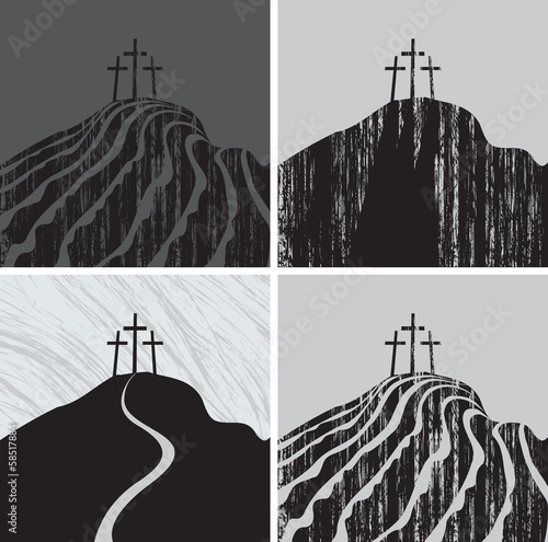 set Calvary mountain with three crosses