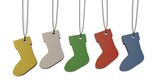 five colored paper tags shaped like Christmas socks