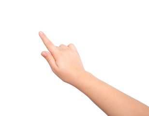isolated child hand touching or pointing to something
