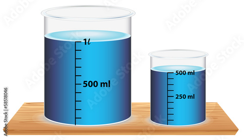 A small and a big laboratory beaker