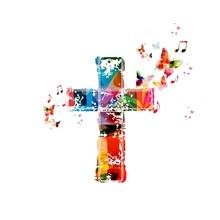 Kolorowe tło z motyli krzyż