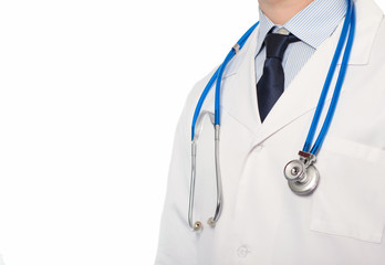 Doctor in white coat with a stethoscope