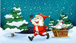 A smiling Santa pulling the wooden sleigh near the pine trees