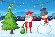 Santa Claus in the middle of the pine tree and the snowman