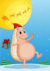 A molehog holding a gift