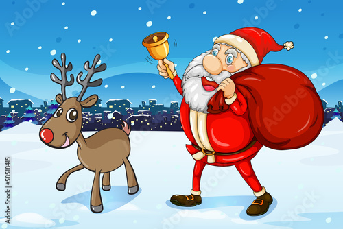 Santa and his deer walking