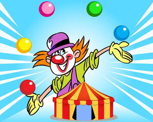 clown from the circus tent