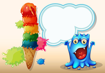 A cheerful blue monster near the colorful giant icecream