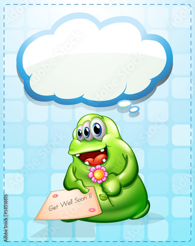 A cheerful green monster holding a card and a flower