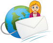 An envelope in front of the smiling girl with a globe at the bac