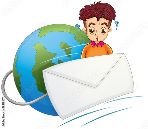 A man thinking in the middle of the envelope and the globe