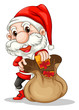 Santa Claus with a brown sack