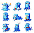 Nine blue monsters