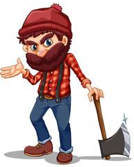 A lumberjack holding a sharp axe