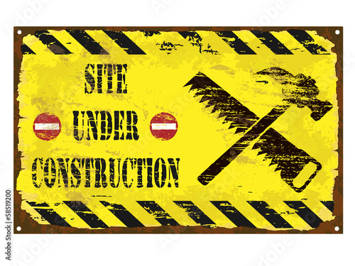 Under Construction Enamel Sign