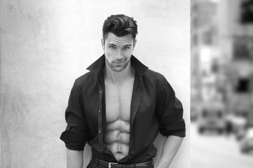 Very sexy male model with open shirt
