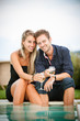 Couple drinking wine in cheerful moment