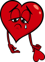 Sad broken heart cartoon ilustracji