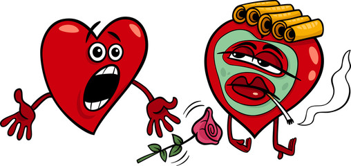 two hearts cartoon illustration