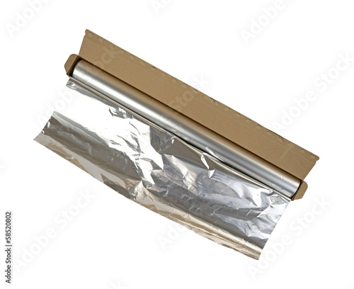 Opened box of aluminum foil on a white background