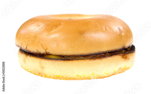 Breakfast bagel sandwich on a white background