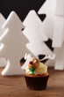 Rudolph cupcake on Christmas background