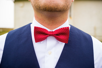 Groom Wearing Bowtie
