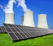 Solar energy panels and nuclear power plant