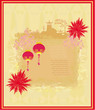 Chinese New Year card - Traditional lanterns,fireworks and Asian